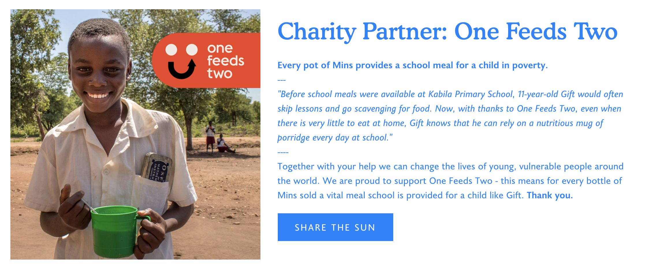 Mins Website Charity Partner Donations To One Feeds Two